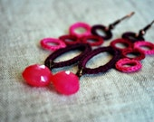 ON SALE Burgundy Magenta and Hot Pink Crochet Earrings with Quartz.. Lightweight Jewelry. Boho.