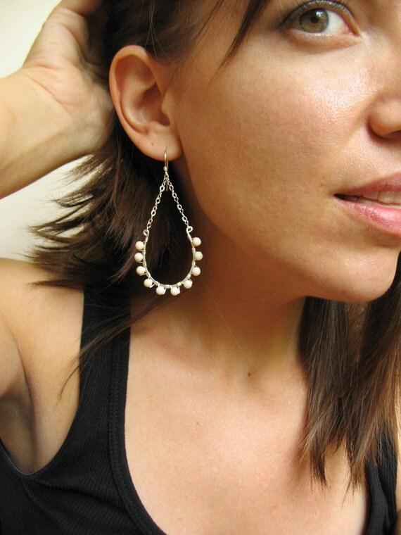 Large Earrings, Beaded Earrings, Chandelier Earrings, Sterling Silver, Long Earrings - Sanibel Earrings