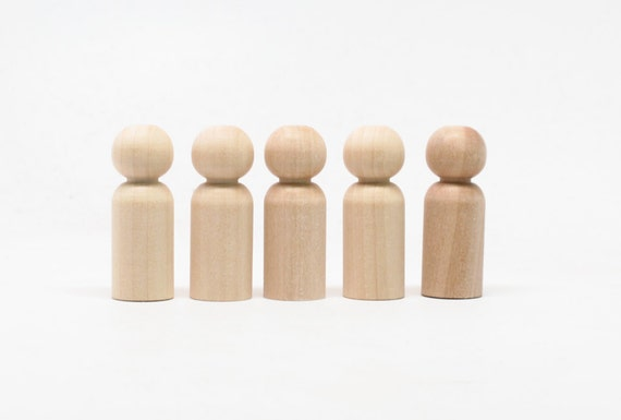 """5 little kids peg dolls- size 1.5"""" tall - do it yourself natural wooden doll bodies peg dolls wooden dolls"""