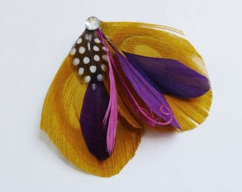 EMERY - Gold Plum Purple and Fuchsia Pink Peacock Feather Hairclip Bridesmaids Wedding Accessory
