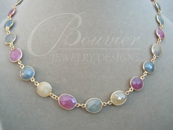 NEW Geneva -- One of a Kind -- Natural Sapphire Gemstone Connector necklace