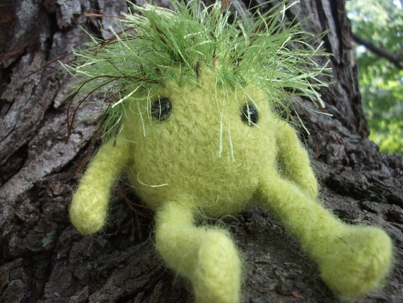 Monster plush toy, hand knit felted monster doll, green hairy monster stuffed animal, bad hair day doll, green Gink toy, made to order