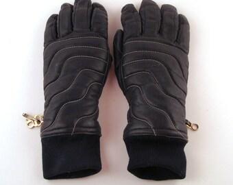 1970s Leather Gloves 70s Ski Navy Blue GrandoeVintage