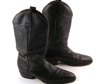 Cowboy Boots Vintage 1980s Cobra Embossed Black Leather Men's  size 9
