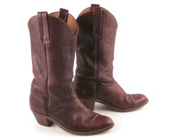 Frye Cowboy Boots Vintage 1980s Rich Deep Burgundy Brown Men's size 9