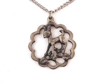 Vintage 1970s Pewter Deer Necklace