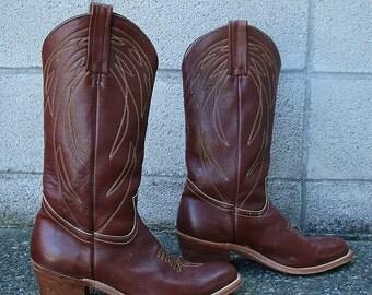 Vintage Frye Cowboy Boots 10 D Cordovan Brown