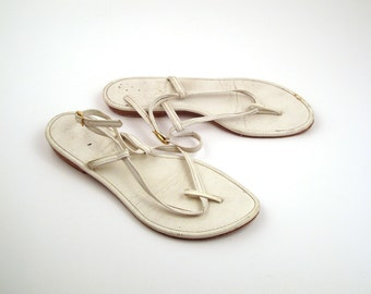 1960s Flip Flops Vintage Sandals Women's Holiday in California Interchangeable Changeable Leather size 6- 6 1/2