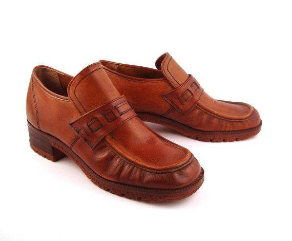 platform shoes vintage 1970s whiskey brown brentmoor leather