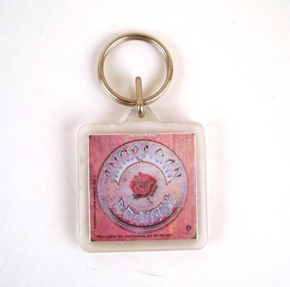 Keychain Vintage 1980s Grateful Dead American Beauty Plastic Key Chain