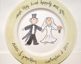 hand painted personalized cermaic wedding platter