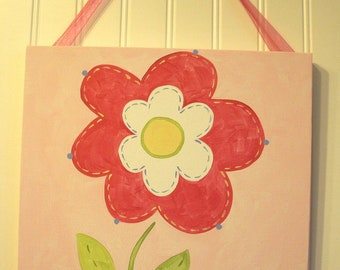 "Baby nursery wall art Girl kid room decor Original canvas painting Painted artwork 12 x 12 ""pink spring flower"" green daisy garden floral"