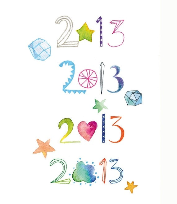 2013 New Year Card/Typography Multicolor Card