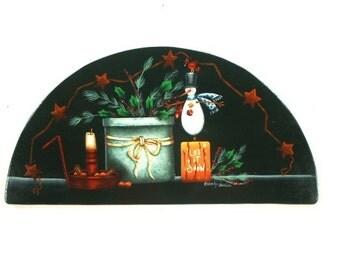 Holiday Stillife Handpainted Wooden Door Crown 505