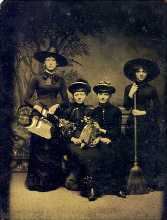 antique WITCHES costume HALLOWEEN sepia photograph WICCAN holiday canvas art print large size  luvthiscanvasart on etsy