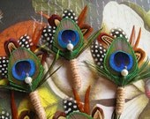 Twine wrapped boutonnieres peacock wedding boutineers pheasant feathers brown bouts cute boutonnieres polka dots men wedding accessories