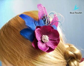 Wedding head piece bridesmaids purple flower blue feathers rhinestones royal blue violet purple eggplant purple maid of honor