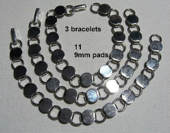 3 silver tone bracelet findings forms blanks for button