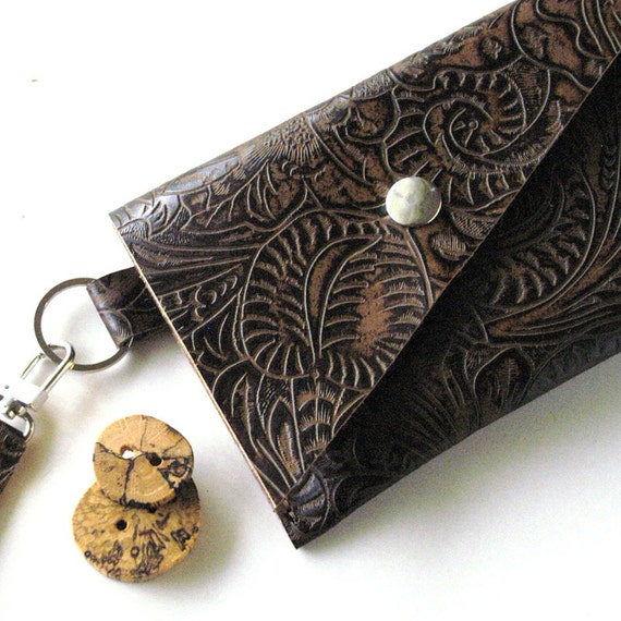LEATHER Passport Wallet  Case with Wristlet Handle - Triple Three Pocket - Rustic - Textured Leaves Swirl Pattern