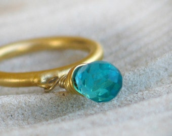 Blue Quartz faceted teardrop stone wrapped on gold ring - Dangle Ring