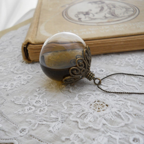 hollow glass bubble orb necklace jewelry hand blown by miceart