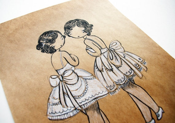 Dancing Sisters - original charcoal drawing on fine kraft paper