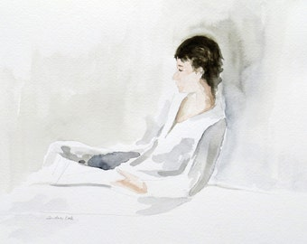 original watercolor painting of a man sitting quietly contemplating and reflecting