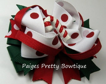 """3.5"""" Candy Cane Twisted Boutique Bow-Holiday Bow-Photo Prop"""