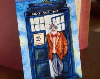 Time Traveling Doctor Card, Grey Tabby Cat in Tweed Coat, Sci Fi Cat Art Greeting Card