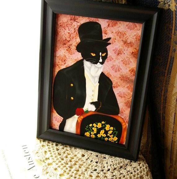 Mr Darcy Cat Art, Tuxedo Cat Feline Handsome English Gentleman 5x7 Art Print