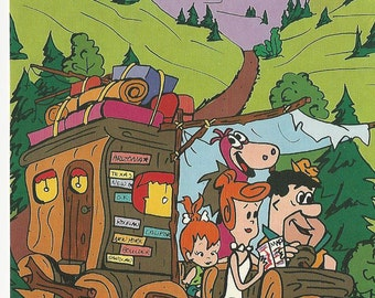 1987 Hanna Barbera 4x6 Post Card FLINTSTONES On the Road Again