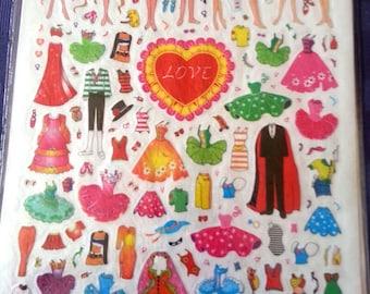 1978-82 Anime Dress-Up Doll Stickers JAPAN Mint BIG LOVE Design