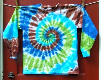 Long Sleeve Tie Dye T-Shirt - Youth Medium - Forest Swirl - Ready to Ship