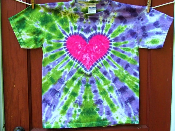Tie Dye T-Shirt - Pink Heart on Purple and Green - Youth Medium - Ready to Ship