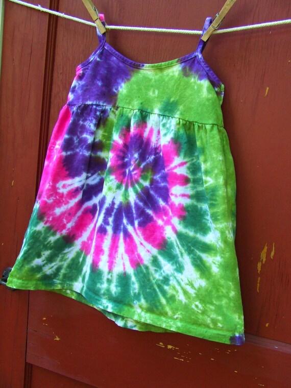 Tie Dye Summer Sun Dress - 4T - Rosebud Swirl - Ready to Ship