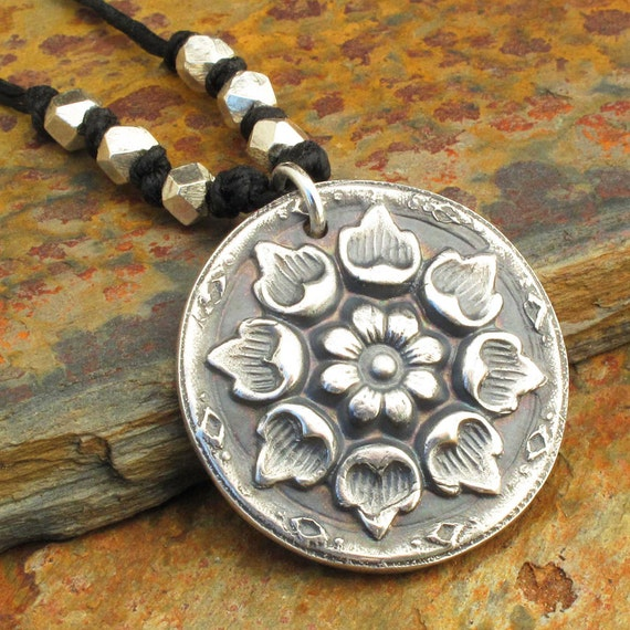 Fine Silver Irish Linen Necklace - Lotus Mandala