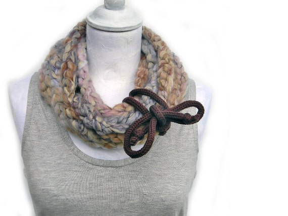 Crocheted extra long infinity scarf , wool yarn dusty pink, beige, lilac, chocolate brown. Chunky winter accessories