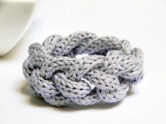 Chain knitted and knotted  cotton yarn bracelet  Alice wisteria, knitted jewelry, yarn jewelry