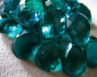 Shop Sale.. QUARTZ Pear Briolettes, Luxe AAA, Teal Green, 2 pcs, 14-16 mm, Giant Focal, wholesale beads brides bridal blue hydqtz26