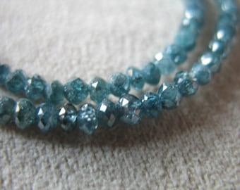 Shop Sale.  5 pcs, 1.5-2 mm BLUE DIAMOND Rondelles Beads, Luxe AAA, Caribbean Blue, Precious something blue brides bridal..drbg 20