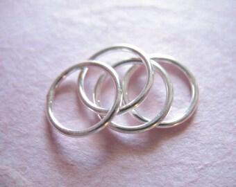 Shop Sale.. 2 pcs, Sterling Silver Links Connectors Jump Rings Jumprings, Round Circle, 10 mm, 18 gauge ga, geo geometric..hp sjr10mm n10