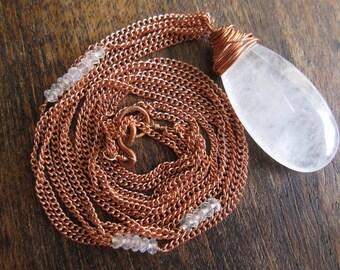 Clarity: Copper, Quartz and Moonstone Multi-chain Necklace