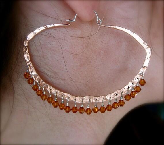 Lg Clam Hoop with Gemstones - Copper