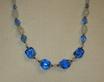 Vintage Blue and White Glass Bead Necklace