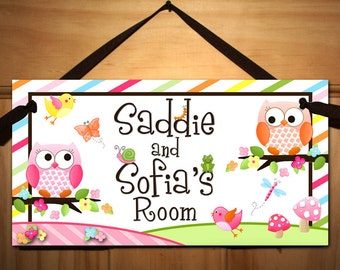 Sisters or Twin Girls Owls Love Birdies and Stripes DOOR SIGN Nature Forest Bedroom and Baby Nursery Kids Bedroom Wall Art DS0109