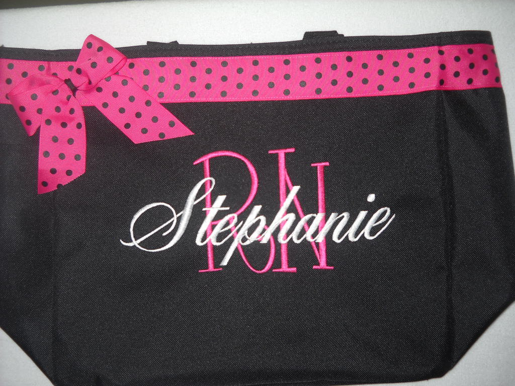rn lpn tote bag personalized by embroiderybycathy on