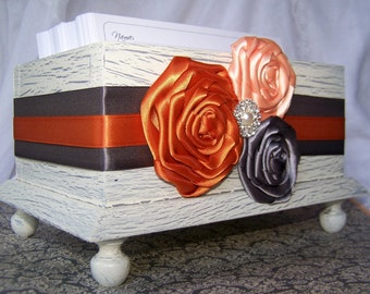 Wedding Guest Book Box, Orange and Gray Guest Book, Rustic Ivory Box, Shabby Chic, Gray and ivory, Burnt Orange, Peach, Custom colors