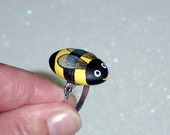 Bumble Bee-painted rocks-adjustable ring-spring-gift ideas-gift for her-gift under 25-best friend-coworker-bee keeper-gifts-black yellow