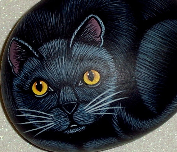 Black cat Halloween decor napkin weight bright yellow eyes hand painted rocks by Rockartiste on Etsy