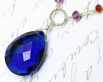 Cobalt Blue Quartz Necklace with Garnet and Amethyst - Magica by CircesHouse on Etsy